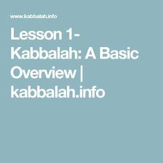 Lesson 1- Kabbalah: A Basic Overview | kabbalah.info