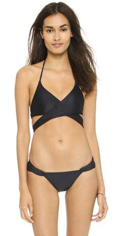 ViX Swimwear Solid Black Loop Bikini Bottoms   SHOPBOP