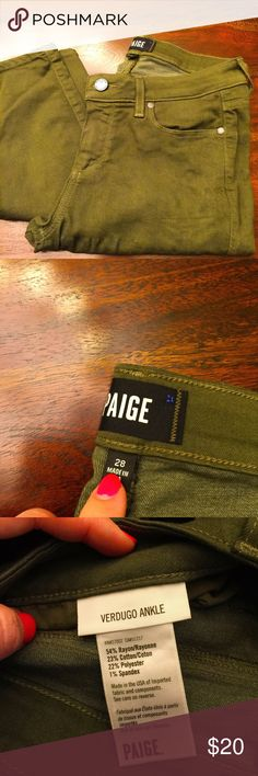 """PAIGE VERDUGO ANKLE OLIVE GREEN SZ 28 Good condition- no faded- super stretchy -VERDUGO ankle- length is 25"""" Paige Jeans Jeans Ankle & Cropped"""