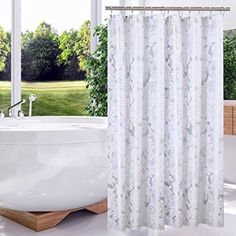 72x78Inch Luxry Pattern White Silver Floral Polyester Fabric Shower Curtains Liners for Bathroom Innovative Design Extra Length Drops Washable Waterproof and Heavy Weighted Hem by Pinzz(180X200CM)