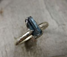 Raw Blue Tourmaline Ring Rough Recycled Sterling by byAngeline, $150.00