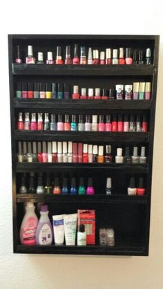 DIY nail polish rack Def need the bottom like this one for remover and fun stuff