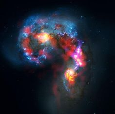 The Antennae Galaxies are a pair of distorted colliding spiral galaxies about 70 Astronomy Terms, Radio Astronomy, Telescope Images, Hubble Space Telescope, Cosmos, Instruments, Computer Basics, Spiral Galaxy, Hubble Images