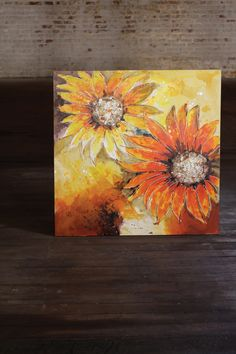 giant sunflower oil painting   handpainted in warm hues on stretched canvas