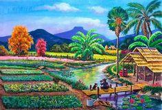 Chinese Landscape Painting, Landscape Art, Landscape Paintings, Indian Art Paintings, Nature Paintings, Beautiful Sketches, Beautiful Paintings, Perspective Pictures, Art Village