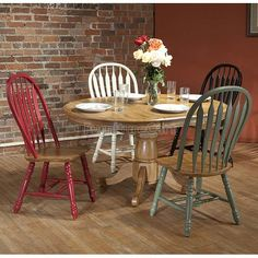 Missouri Round Dining Room Set w/ Chair Color Choices Round Dining Room Sets, Dining Table Height, Solid Oak Dining Table, Furniture Dining Table, Extendable Dining Table, Dining Table In Kitchen, Rustic Furniture, Dining Chairs, Dining Set