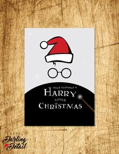 "Harry Potter Inspired Holiday Card  |  Have Yourself A Harry Little Christmas, Blank Interior |  Printable Digital Download  |  5x7"" A7"