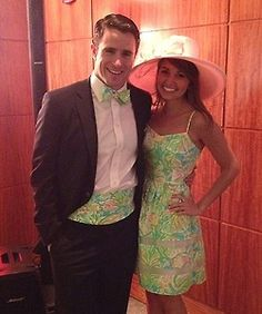 ccadesign:  She is wearing a gorgeous Lilly Pulitzer dress in multi green Elephant Ears and he is in a matching bow tie and cummerbund made by yours truly at CCADesign.etsy.com And they look incredible!!