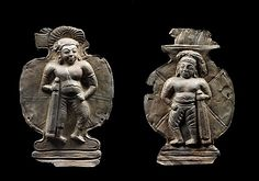Dvarapalas, 6th century. Central Myanmar. Lent by National Museum of Myanmar, Yangon (1622 [left], 1623 [right]) | These miniature representations depicting dvarapalas, guardians of sacred spaces, have small holes around the border, suggesting that they were fixed to a surface, probably the pedestal of a Buddha image. #LostKingdoms