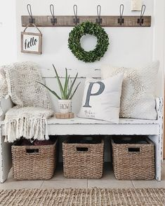 Weekly Roundup spring summer home decor front entry entryway pew bench kirklands rae dunn hooks boxwood wreath aloe vera baskets jute rug target personalized initial pillow etsy hello sign basketweave throw white magnolia home pillow farmhouse style Pew Bench, Bench Decor, White Home Decor, Diy Home Decor, Home Design, Diy Design, Shabby Chic Design, Decoration Inspiration, Decor Ideas