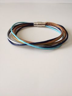 Blue Gold Silver Multi Strand Leather Bracelet - Blue Gold...