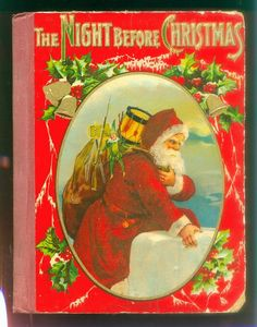 1900 Night Before Christmas Santa Claus Book Rare W Color Cover Vintage Moore