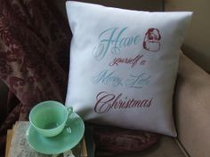 Merry little Christmas decorative throw pillow cover by Twirlocity, $15.99