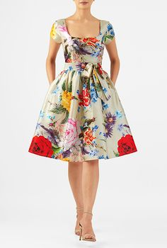 Floral print dupioni sash tie dress #eShakti