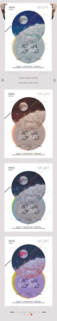 Minimal Moon Sound PSD Flyer/Poster - Clubs & Parties Events