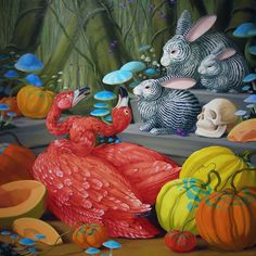 """Laurie Hogin """"Laurie Hogin's allegorical paintings of vicious creatures suggestive of human counterparts skillfully appropriat. Contemporary Artists, Modern Art, Arte Lowbrow, Rabbit Art, Call Art, Arte Popular, Realism Art, Pop Surrealism, Animal Paintings"""