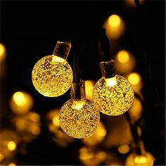 NERLMIAY Solar Energy Powered 20ft 30 LED Crystal Ball Bubble String Fairy Light for Indoor Outdoor Decorationwarm white ** This is an Amazon Affiliate link. Click image for more details.