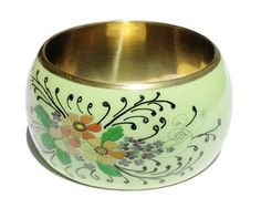 Floral Handpainted Fair Trade Bangle – Wild Dill