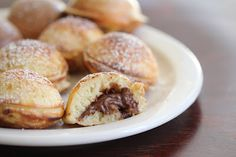 ableskivers (danish pancakes) filled with nutella