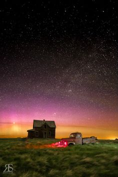 Abandoned Aurora by Robert Scott on Robert Scott, Gods Creation, Milky Way, Stars And Moon, Night Skies, Aurora, Abandoned, Creepy, Northern Lights