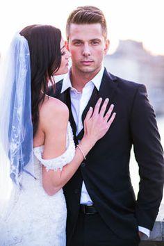 Bride in Veil Close to Groom