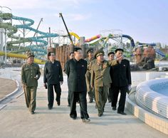 Kim Jong-un visits the Munsu swimming pool complex in 2013