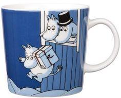 Moomin Mug Winter 2009 Christmas Surprise Arabia Moomin Mugs, Fuzzy Felt, Tove Jansson, Nordic Home, Dark Blue Background, Christmas Mugs, Marimekko, Ceramic Cups, Porcelain Ceramics