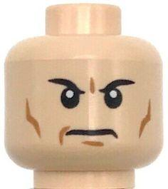 Lego New Light Flesh Minifigure Head Male Black Eyebrows Cheek Lines Frown Head