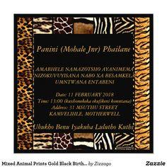 Mixed Animal Prints Gold Black Birthday Party Card