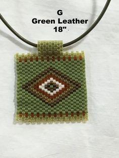 "Peyote Stitch Pendant Necklace Diamond Pattern 18"" or 16"""