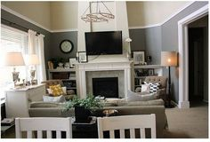Pottery Barn Living Rooms Colors | very clever use of trim in Emily's living room allowed her to ...