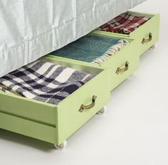 Get organized by re-purposing old drawers into under bed storage! For more DIY ideas, visit www.instagram.com/loweshomeimprovement!