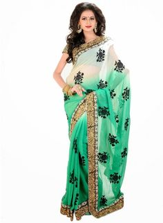 Gorgeous Off White & Pale Jade Green Color Embroiderey #Saree With Resham Work #designersarees #clothing #womenswear #womenapparel #ethnicwear