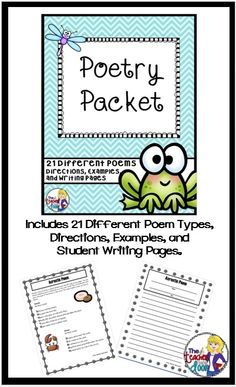 Complete unit with directions and examples of 21 kid friendly poetry types.Detailed Teacher Notes page included. (TpT Resource)