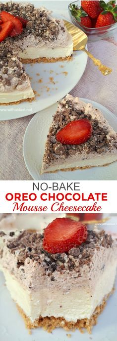 This No-Bake Cheesecake had my family raving ! Crust, Cheesecake layer, Chocolate Mousse and more Chocolate ! Chocolate Mousse Cheesecake, Best Cheesecake, Easy Cheesecake Recipes, Easy No Bake Desserts, Delicious Cake Recipes, Best Dessert Recipes, Cupcake Recipes, Easy Desserts, Cupcake Cakes
