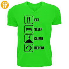 Eat Sleep Climb Repeat Black Graphic Mountain Climbing Men's V-Neck T-shirt XX-Large (*Partner-Link)