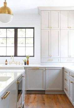How To Build Kitchen Cabinets Decor  #kitchendecor #CabinetIdeas Farmhouse Kitchen Cabinets, Modern Farmhouse Kitchens, Painting Kitchen Cabinets, Home Kitchens, Farmhouse Style, Light Grey Cabinets Kitchen, Kitchen Cabinets To Ceiling, Pantry Cabinets, Galley Kitchens