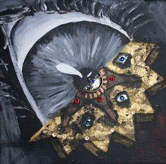 Eyes of the Machine Mini #Original acrylic #painting by Bexterart, $35.00