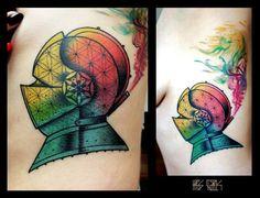 Kris Ciezlik. #Rainbow helm tattoo - very pretty, my fav is blending of the colours!!!