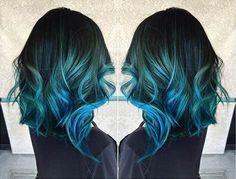 Medium, Curly Hairstyles for Thcik Hair - Teal Blue to Dark Blue Hair Color Idea