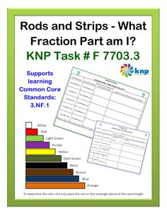 """Rods and Strips - What Fraction Part am I?"" - name a fractional part, when using Cuisenaire Rods, given the part and the whole. Supports learning Common Core Standards: 3.NF.1 [KNP Task # F 7703.3]"