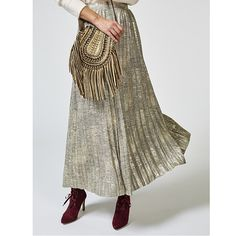 H by Halston Metallic Knit Pleated Maxi Skirt order online at QVCUK.com