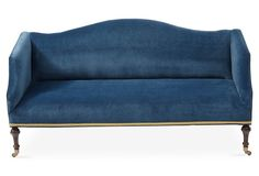 Lydia Camelback Settee, Peacock Velvet - One Kings Lane - Brands Hardwood Plywood, Velvet Sofa, Ballard Designs, Settee, Dining Room Chairs, Arm Chairs, Blue Velvet, Sectional Sofa, Couch