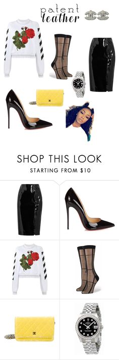 """""""Patent-Got Fevr'"""" by undeniable-tyler-milan ❤ liked on Polyvore featuring Topshop Unique, Christian Louboutin, Off-White, Stance, Chanel and Rolex"""