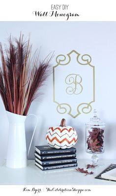 This easy DIY vinyl monogram in gold is a beautiful way to greet guests this Autumn. Visit TheCelebrationShoppe.com for more fall crafts.