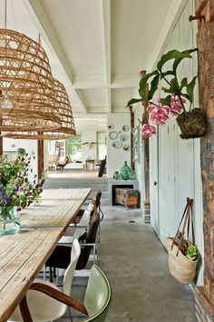 Country Kitchen Design - Rustic Dining Room with Concrete Floor