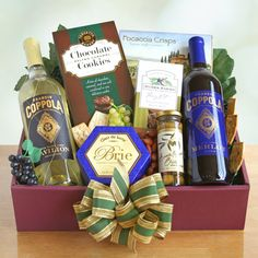 Have to have it. Tasting and Toasting Wine Gift Basket $74.99. This elegantly boxed assortment starts with a pair of wines, a white and a red, then adds focaccia crisps, fine cheese, roasted salted mixed nuts, olives, and delicious caramel chocolate cookies to seal the deal.