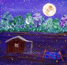 SOMEBODY Left the Quilt Out - Original Miniature Painting by Majo   $25.00