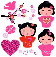 Buy Japan Love Geisha and Floral Elements Set by BEEANDGLOW on GraphicRiver. Little love Geishas, love design elements. Asian Crafts, Kokeshi Dolls, Pink Art, Valentine's Day Diy, Japan Fashion, Diy Shirt, Love Design, Paper Dolls, Cute Art
