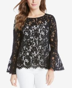 Lace Top Outfits, Cool Outfits, Sheer Lace Top, Lace Tops, Karen Kane, Looks Plus Size, Sweater Skirt, Casual Tops, Hijab Fashion